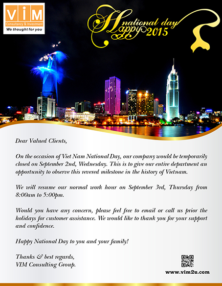The National day holiday schedules of VIM Consultancy